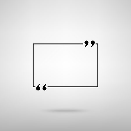 Text quote sign. Black with shadow on gray. Illustration