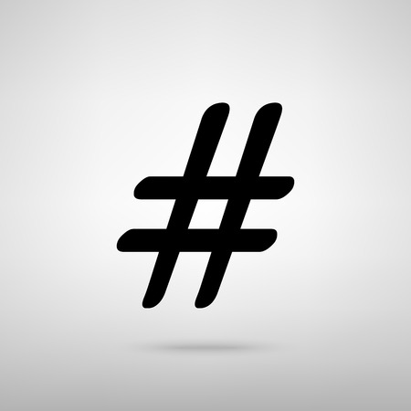 microblogging: Hashtag sign. Black with shadow on gray.