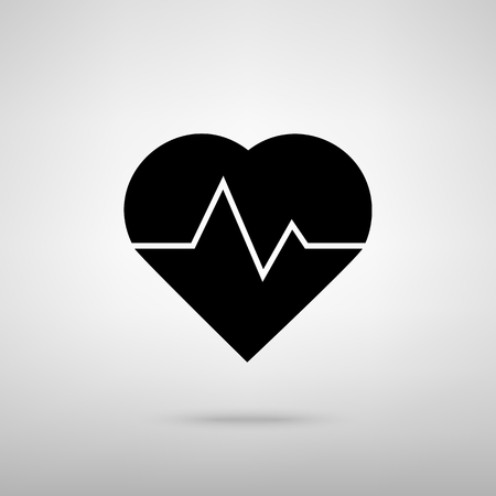 pulsating: Heartbeat sign. Black with shadow on gray.