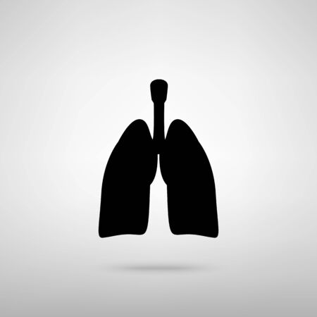 screening: Human organs. Lungs sign. Black with shadow on gray. Illustration