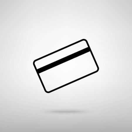 magnetic clip: Credit card symbol for download. Black with shadow on gray. Illustration