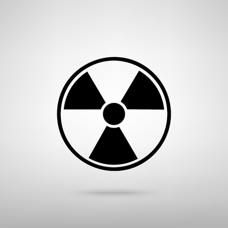 radiological: Radiation Round sign. Black with shadow on gray.