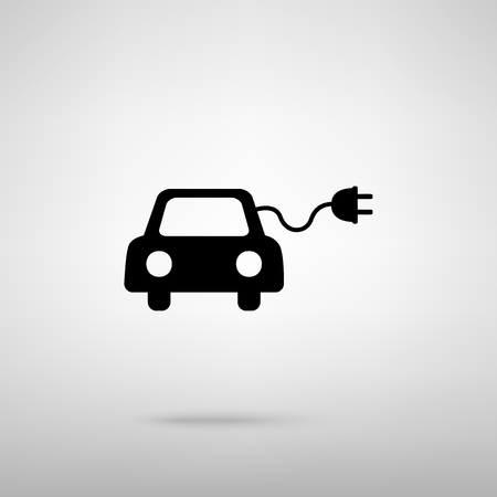 echnology: Eco electric car sign. Black with shadow on gray.