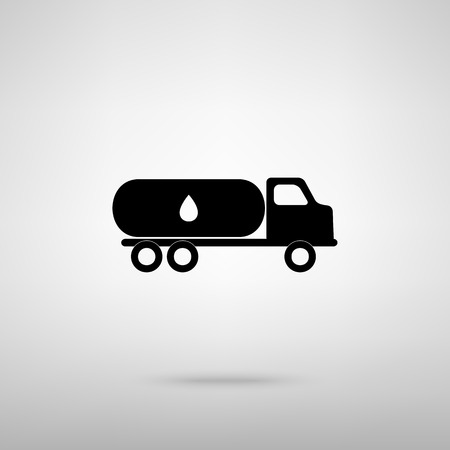 fabrication: Car transports Oil sign. Black with shadow on gray. Illustration