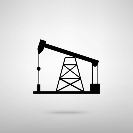 drilling rig: Oil drilling rig sign. Black with shadow on gray. Illustration