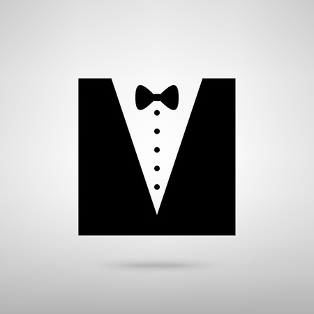 Tuxedo with bow silhouette. Black with shadow on gray.
