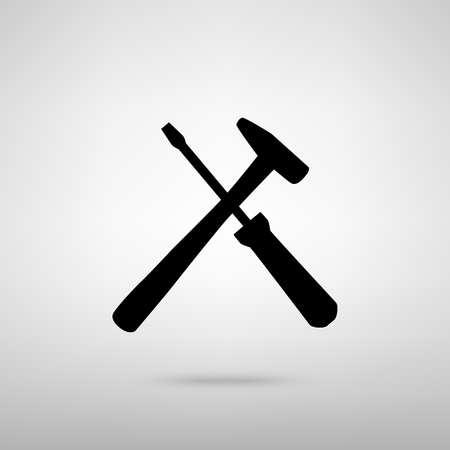 revamp: Tools sign. Black with shadow on gray.