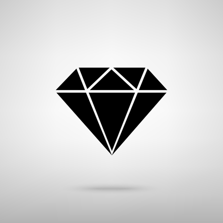 spoil: Diamond sign. Black with shadow on gray. Illustration