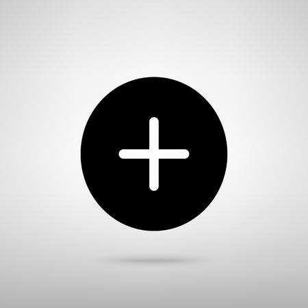 Positief symbool plusteken. Zwarte met schaduw op grijs.