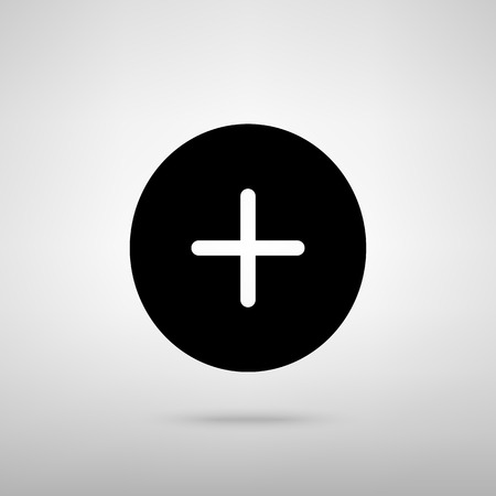 plus sign: Positive symbol plus sign. Black with shadow on gray.