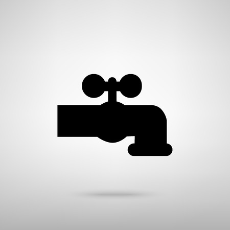 spew: Water faucet sign. Black with shadow on gray.