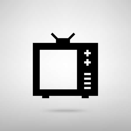 tvset: TV sign. Black with shadow on gray.
