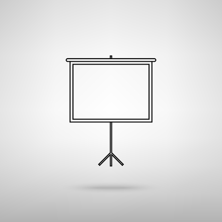 projection: Blank Projection screen. Black with shadow on gray. Illustration