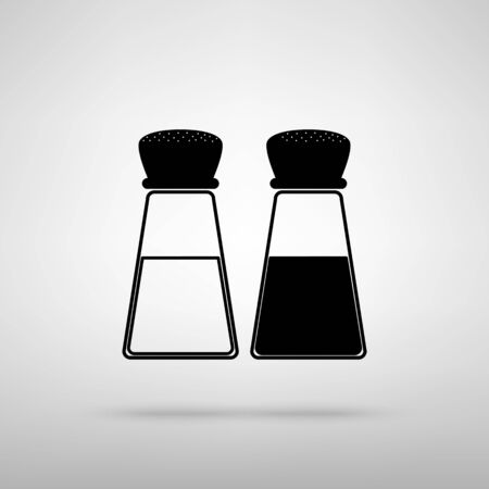 pepper grinder: Salt and pepper sign. Black with shadow on gray.