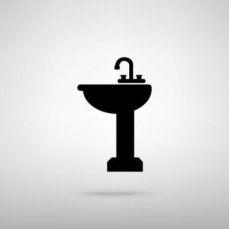 necessity: Bathroom sink sign. Black with shadow on gray.
