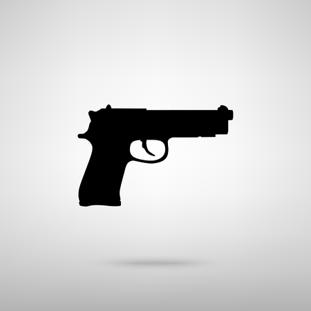 Gun sign. Black with shadow on gray. 일러스트