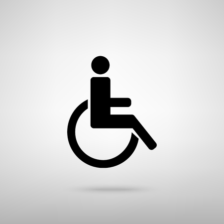 one man only: Disabled sign. Black with shadow on gray.