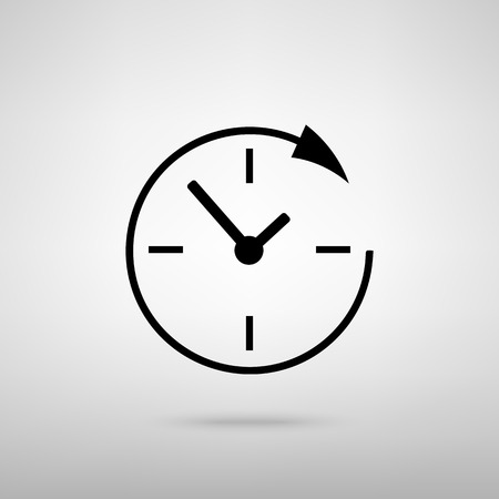 shop opening hours: Service and support for customers around the clock and 24 hours. Black with shadow on gray.