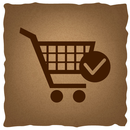 old mark: Shopping Cart and Check Mark Icon. Coffee style on old paper.