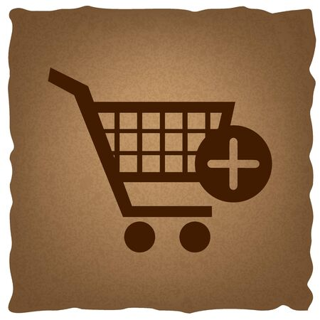 old mark: Shopping Cart and add Mark Icon. Coffee style on old paper.