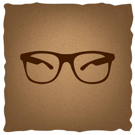 eyewear fashion: Sunglasses sign. Coffee style on old paper.