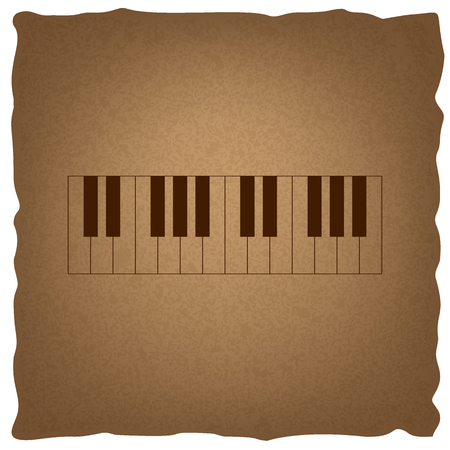 clavier: Piano Keyboard  sign. Coffee style on old paper. Illustration