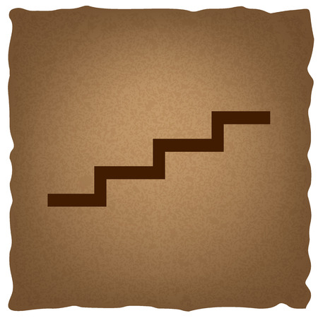 up stair: Stair up sign. Coffee style on old paper.