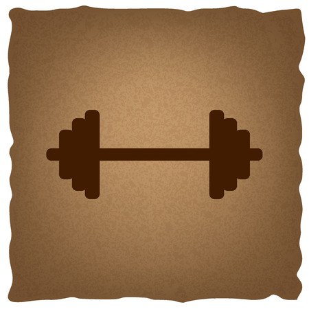 heavy load: Dumbbell weights sign. Coffee style on old paper.