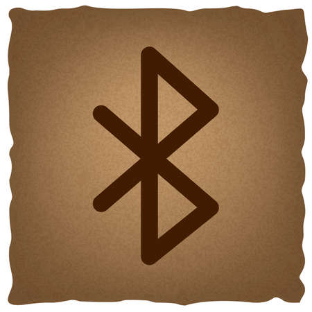bluetooth: Bluetooth sign. Coffee style on old paper.