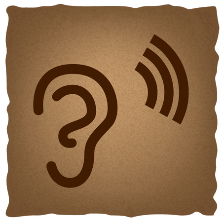 listener: Human ear sign. Coffee style on old paper. Illustration
