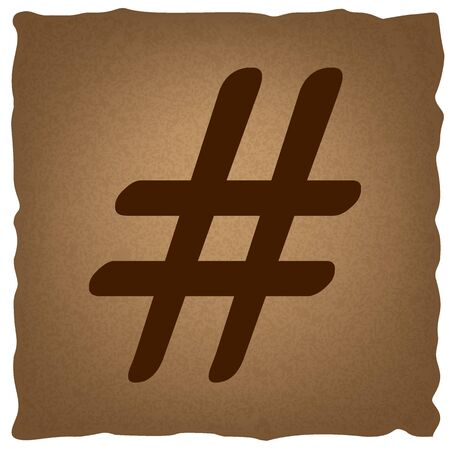 microblogging: Hashtag sign. Coffee style on old paper. Illustration
