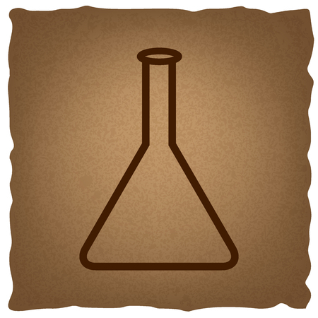 conical: Conical Flask sign. Coffee style on old paper.