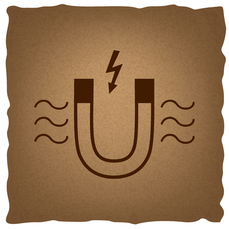 electromagnetic: Icon of magnet with magnetic force indication. Coffee style on old paper.