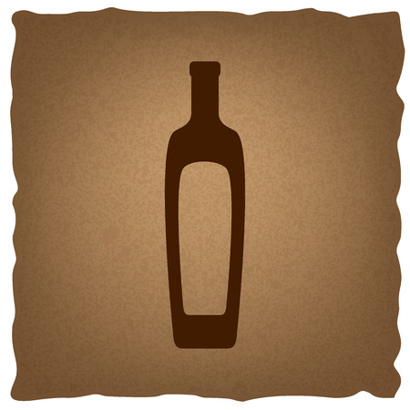 salad dressing: Olive oil bottle sign. Coffee style on old paper.