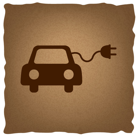 echnology: Eco electric car sign. Coffee style on old paper.