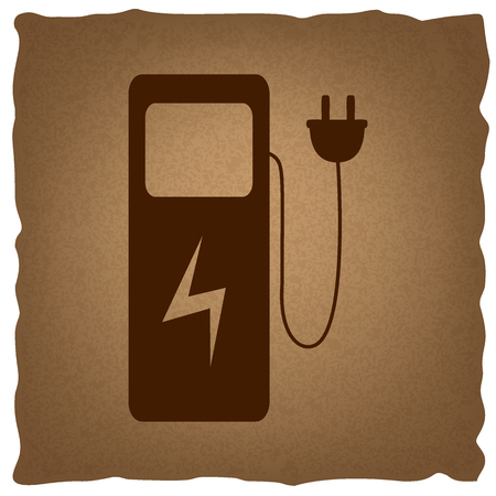 plugin: Electric car charging station sign. Coffee style on old paper. Illustration