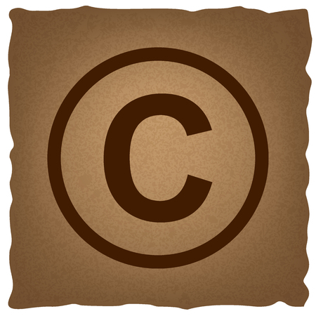 duplication: Copyright sign. Coffee style on old paper. Illustration