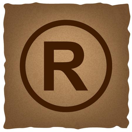dispensation: Registered Trademark sign. Coffee style on old paper. Illustration