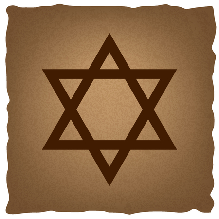 israelite: Star. Shield Magen David. Symbol of Israel. Coffee style on old paper.