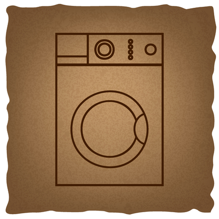 major household appliance: Washing machine sign. Coffee style on old paper.
