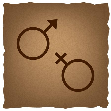 sex symbol: Sex symbol sign. Coffee style on old paper.