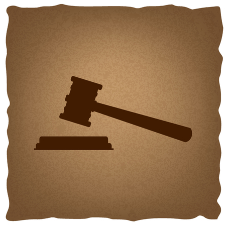 arbitrate: Justice hammer sign. Coffee style on old paper.