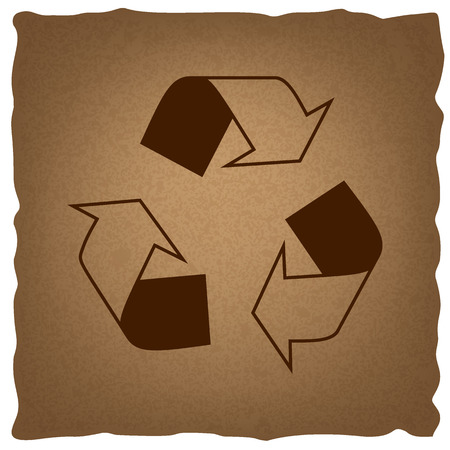 recyclable waste: Recycle logo concept. Coffee style on old paper. Illustration