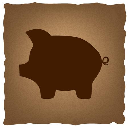 signo de pesos: Cerdo signo banco de dinero. estilo del café en el papel viejo.
