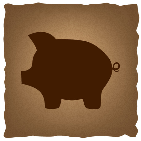 moneyed: Pig money bank sign. Coffee style on old paper.