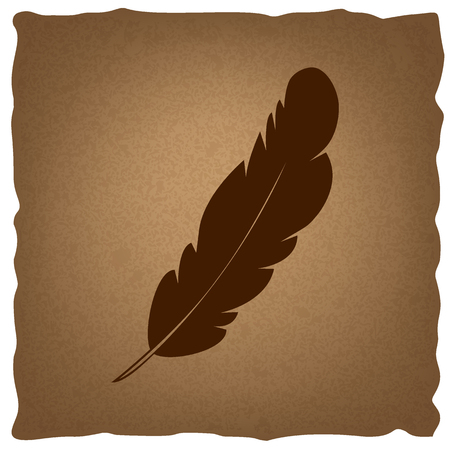 old sign: Feather sign. Coffee style on old paper.