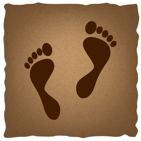biometrics: Foot prints sign. Coffee style on old paper.