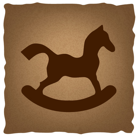 old horse: Horse toy sign. Coffee style on old paper. Illustration