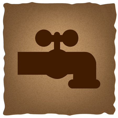 spew: Water faucet sign. Coffee style on old paper.