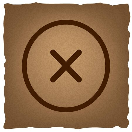 Kruis teken. Koffiestijl op oud papier.